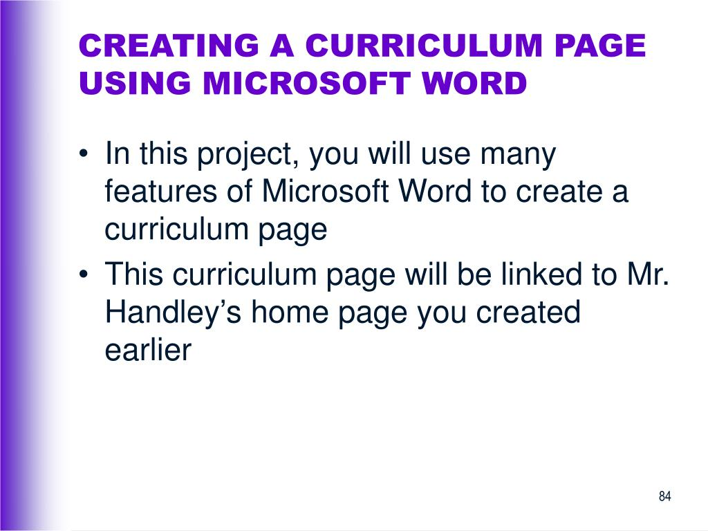 CREATING A CURRICULUM PAGE USING MICROSOFT WORD
