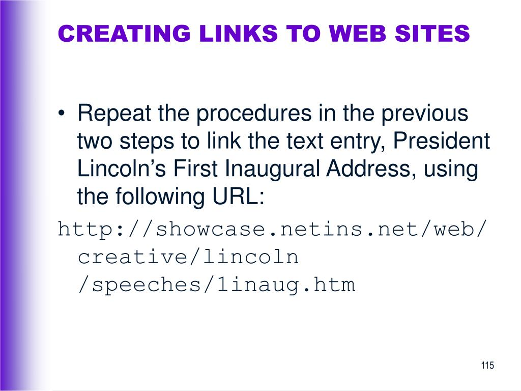 CREATING LINKS TO WEB SITES
