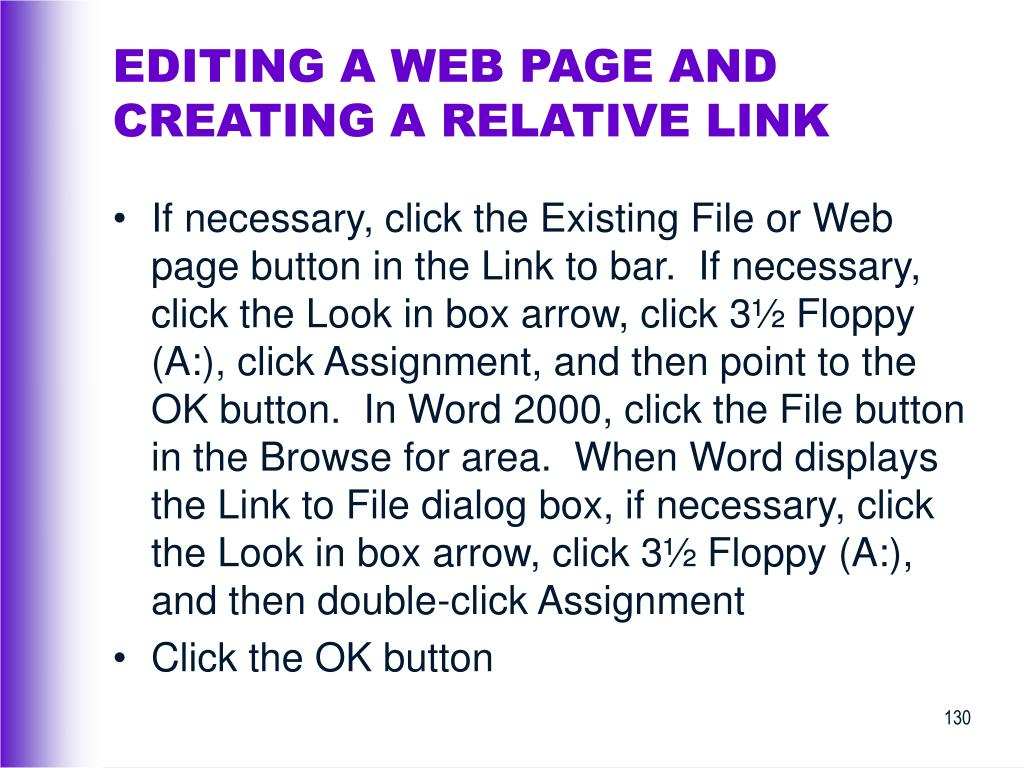 EDITING A WEB PAGE AND CREATING A RELATIVE LINK