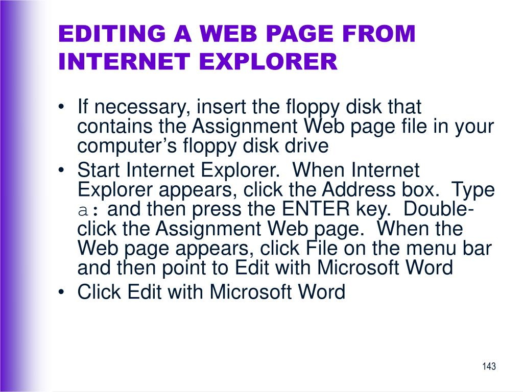 EDITING A WEB PAGE FROM INTERNET EXPLORER