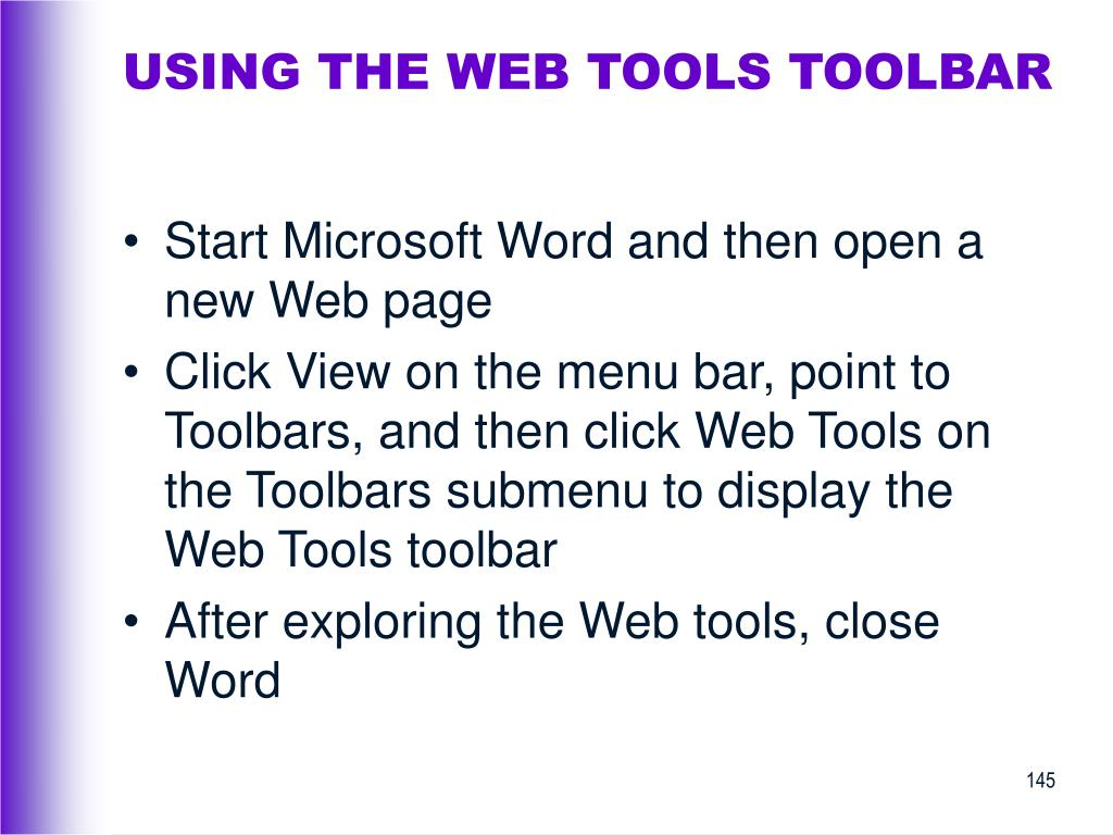 USING THE WEB TOOLS TOOLBAR