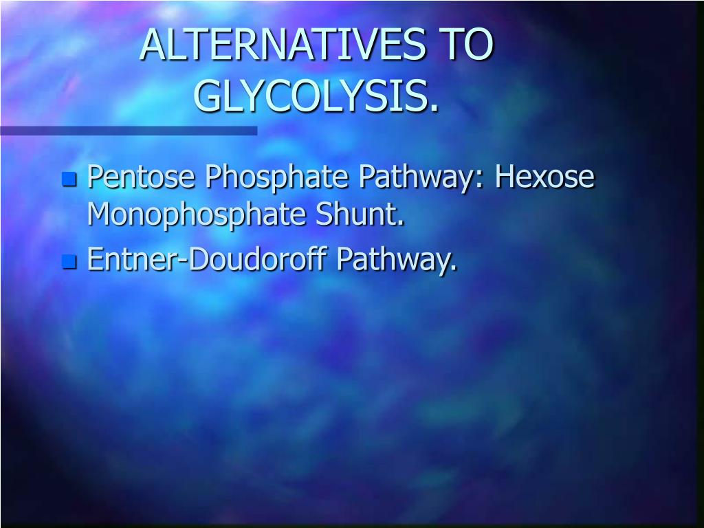 ALTERNATIVES TO GLYCOLYSIS.