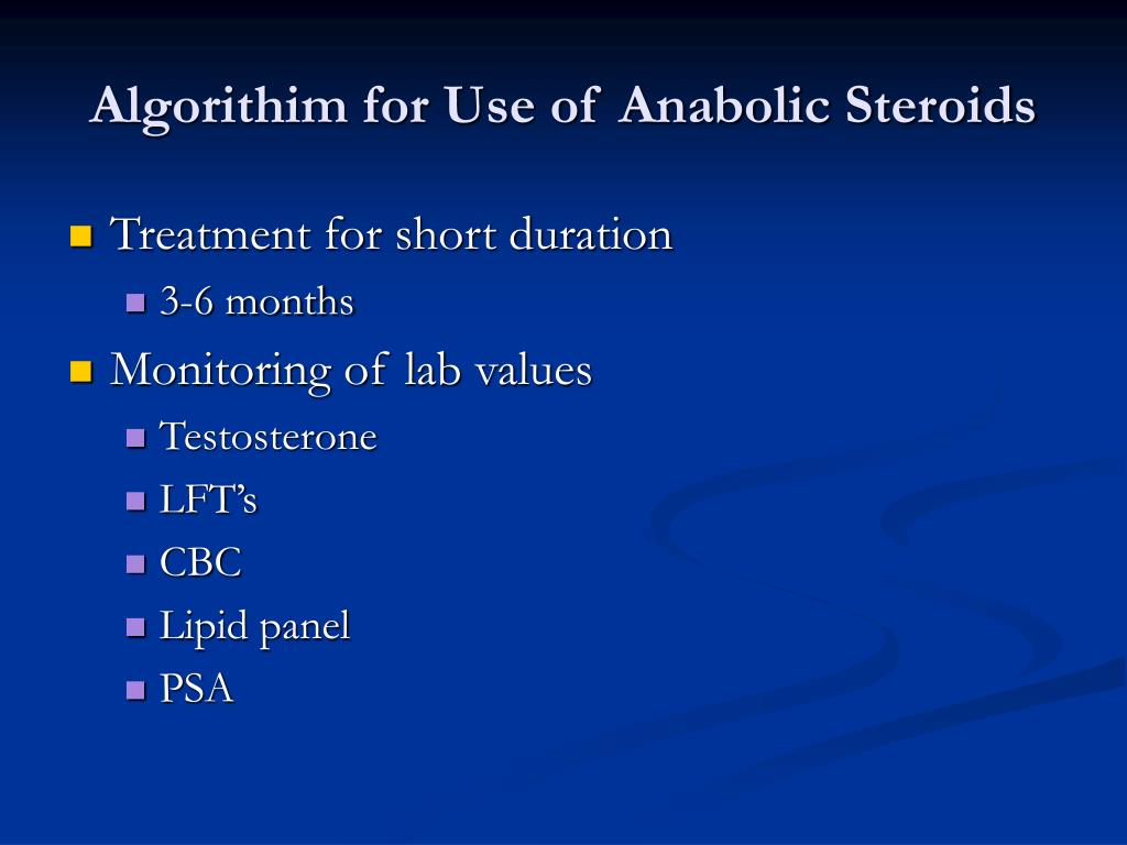 Algorithim for Use of Anabolic Steroids