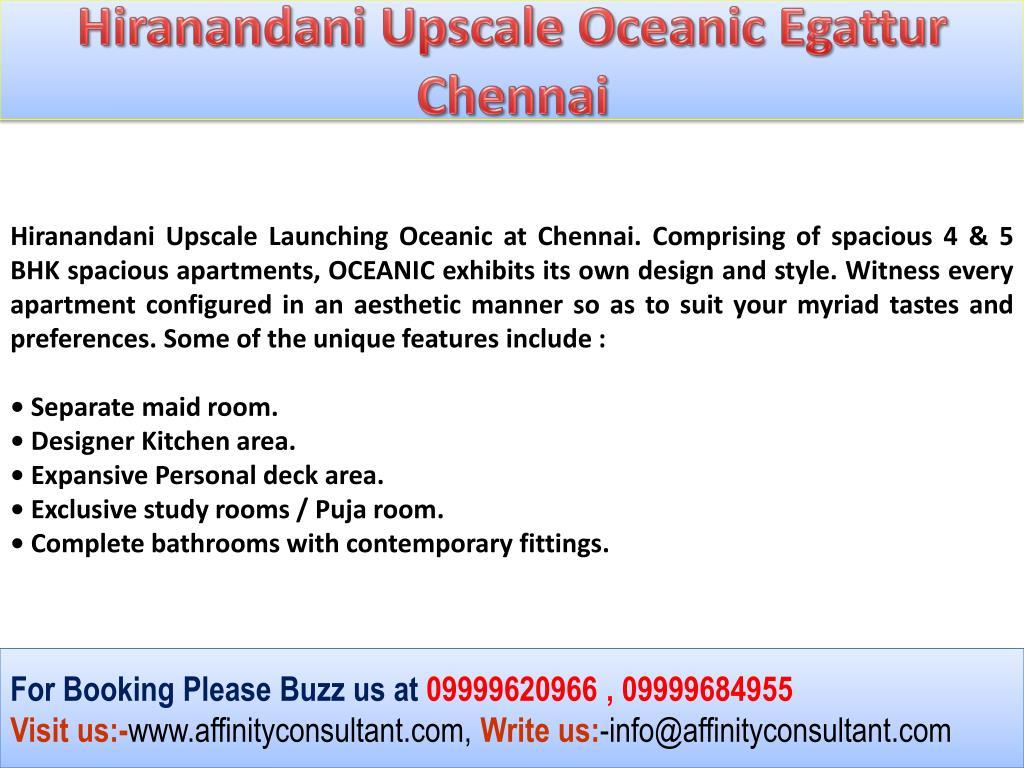 Hiranandani Upscale Oceanic Egattur Chennai