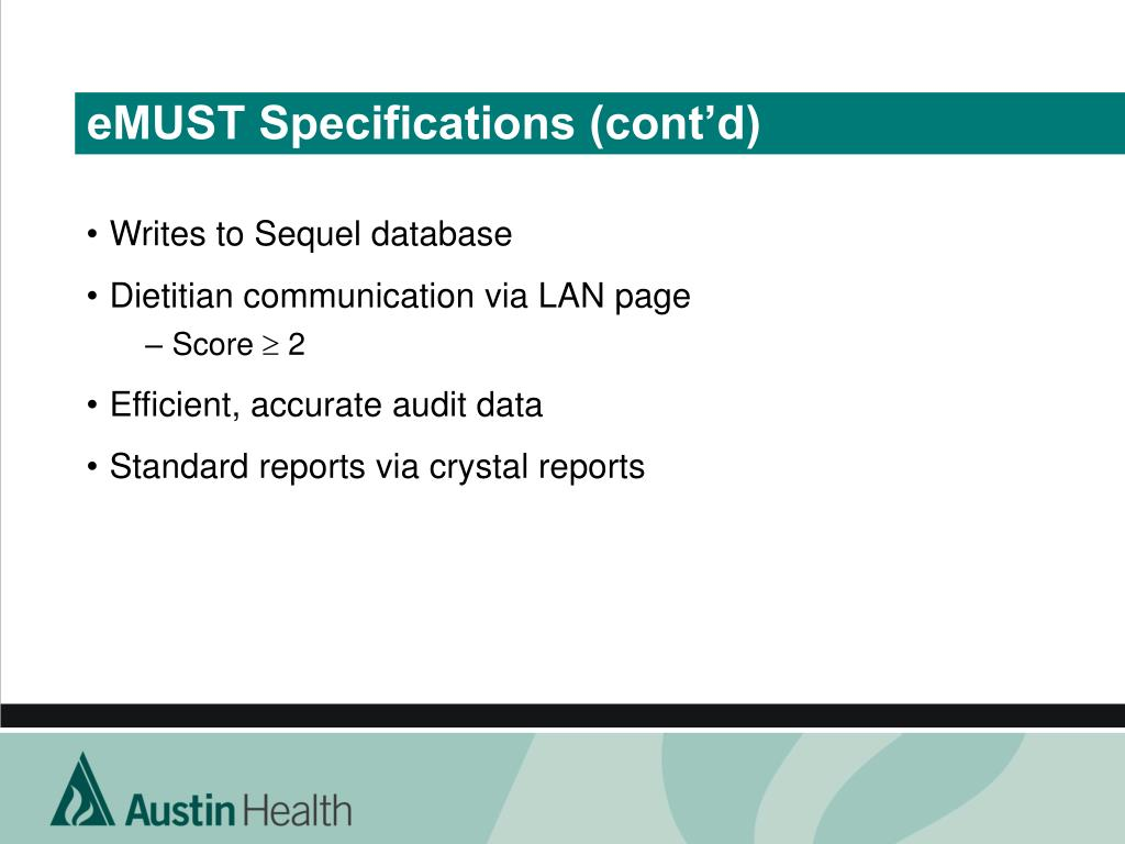 eMUST Specifications (cont'd)