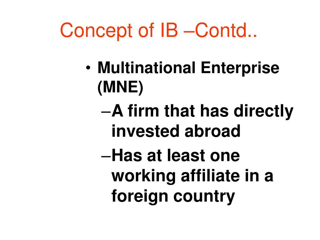 Concept of IB –Contd..
