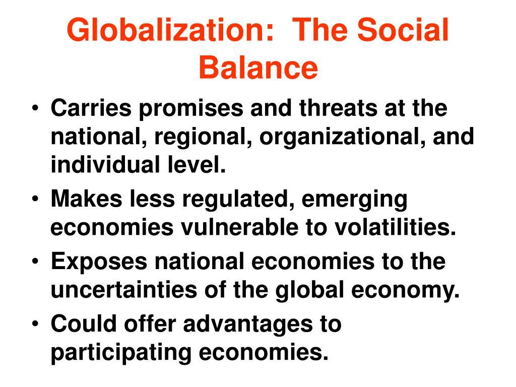 Globalization:  The Social Balance