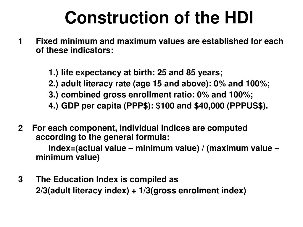 Construction of the HDI