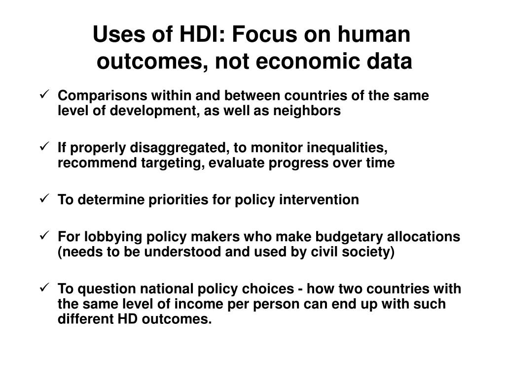 Uses of HDI: Focus on human