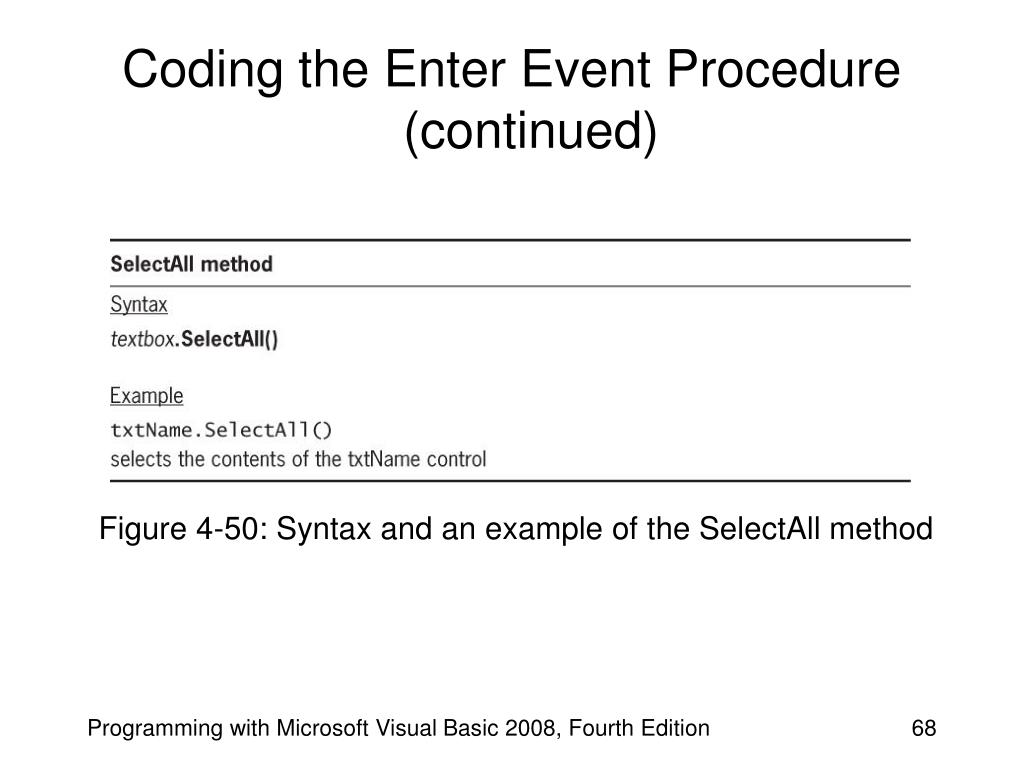 Coding the Enter Event Procedure (continued)