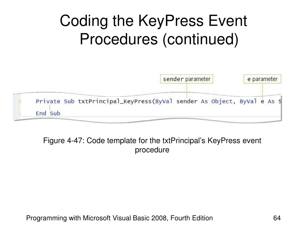 Coding the KeyPress Event Procedures (continued)