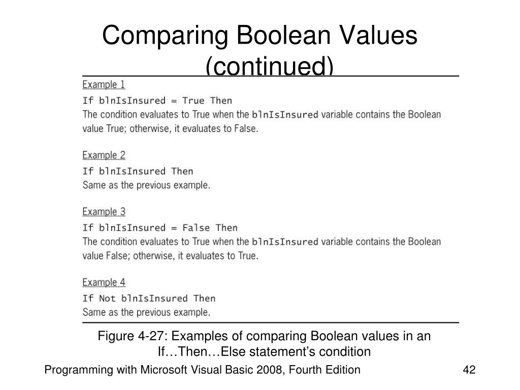 Comparing Boolean Values (continued)