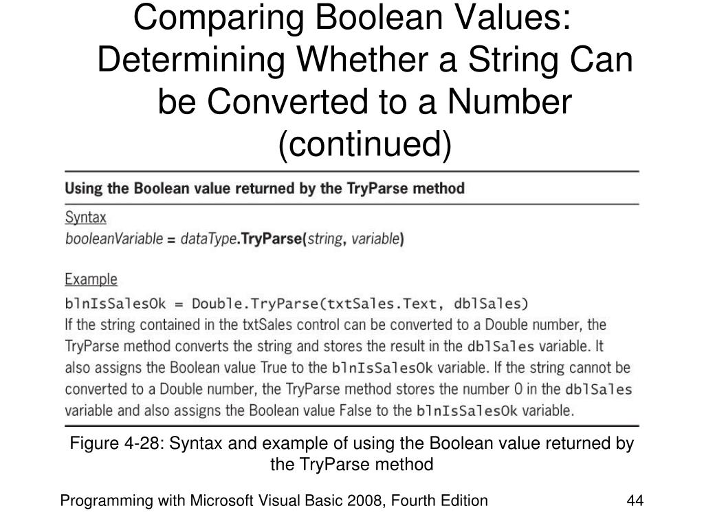 Comparing Boolean Values: Determining Whether a String Can be Converted to a Number (continued)