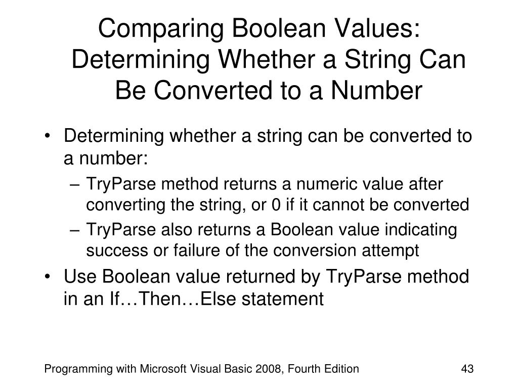 Comparing Boolean Values: Determining Whether a String Can Be Converted to a Number