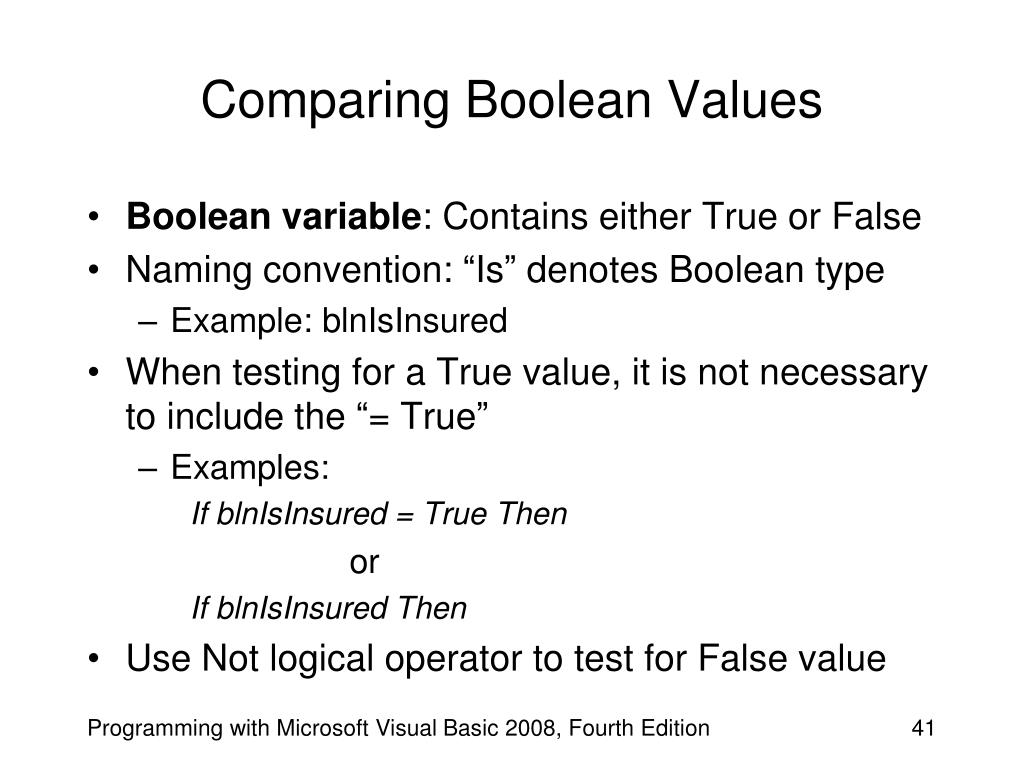 Comparing Boolean Values