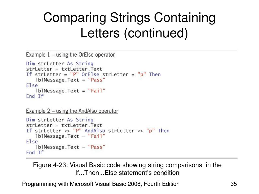 Comparing Strings Containing Letters (continued)