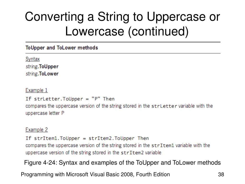 Converting a String to Uppercase or Lowercase (continued)