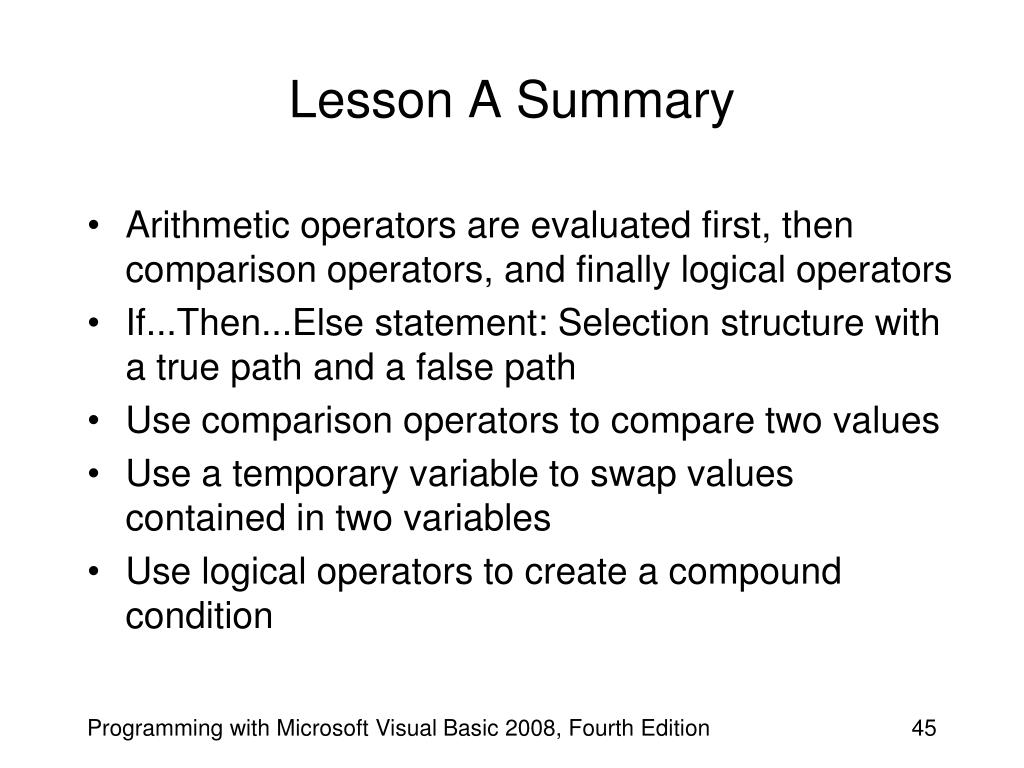 Lesson A Summary