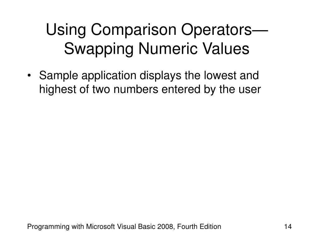 Using Comparison Operators—Swapping Numeric Values