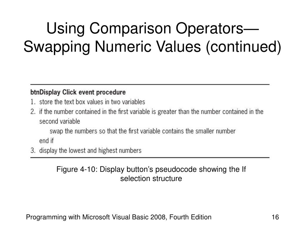 Using Comparison Operators—Swapping Numeric Values (continued)