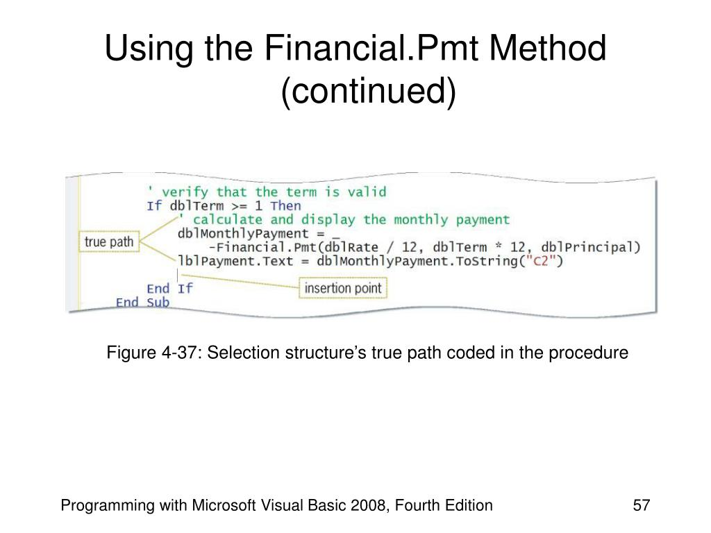 Using the Financial.Pmt Method (continued)