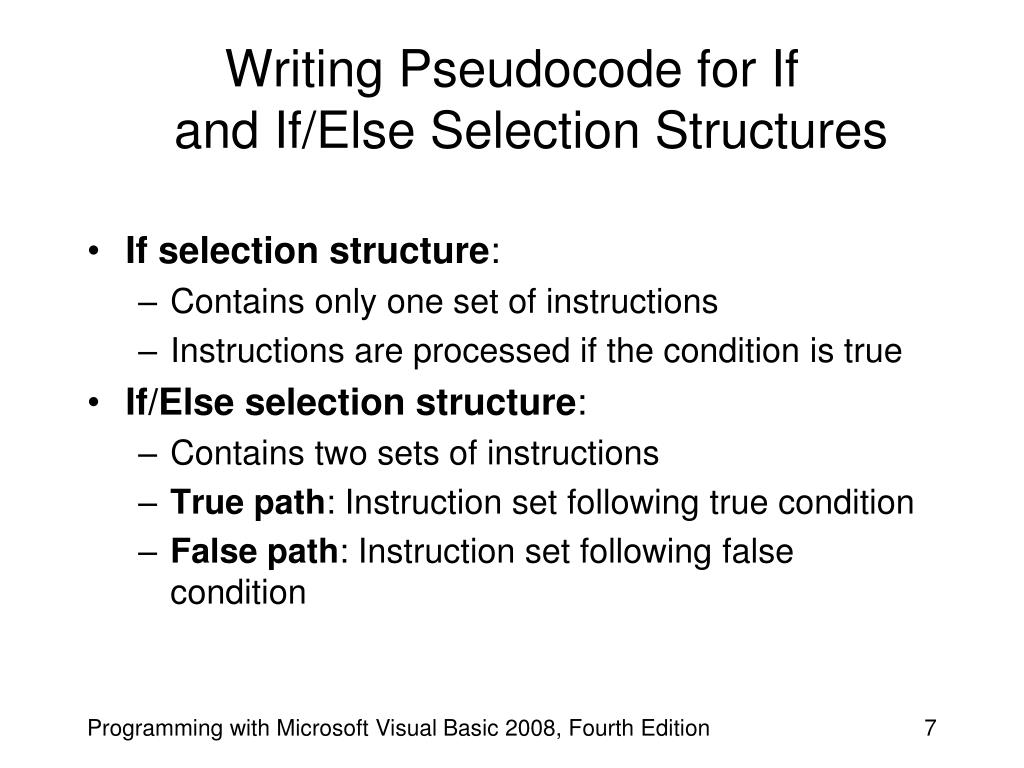Writing Pseudocode for If
