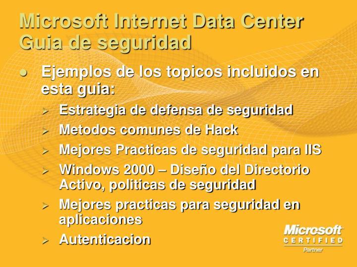 Microsoft Internet Data Center Guia de seguridad