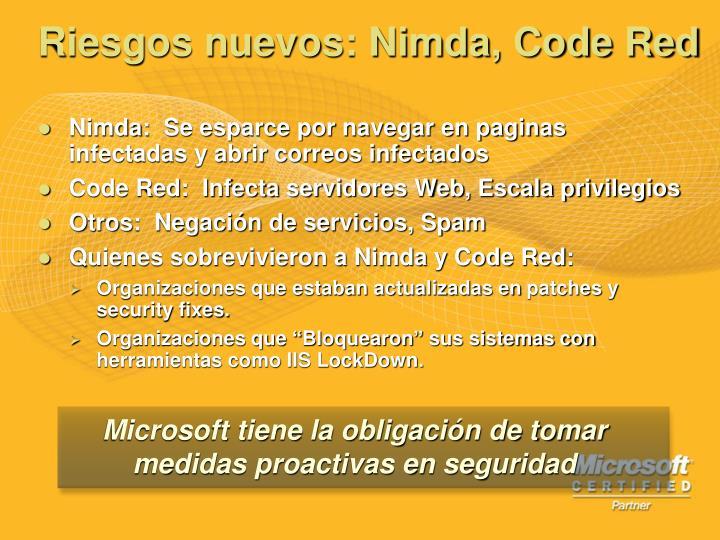 Riesgos nuevos: Nimda, Code Red