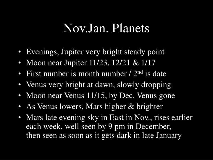 Nov.Jan. Planets