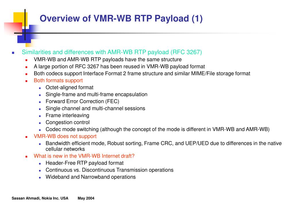 Overview of VMR-WB RTP Payload (1)