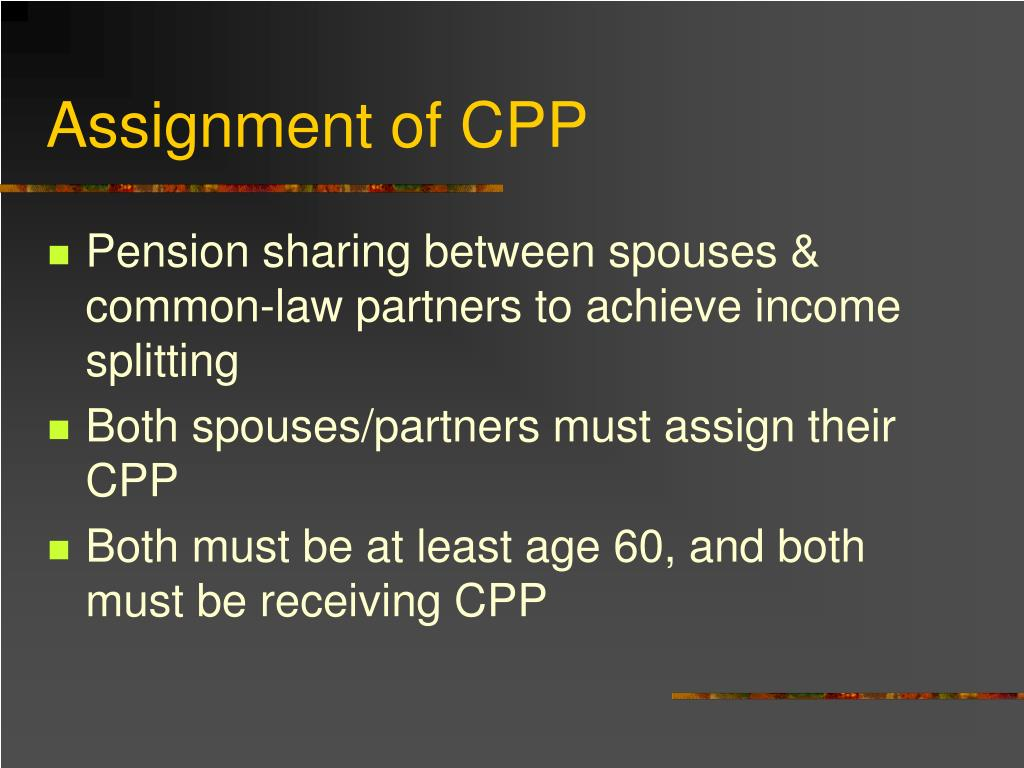 Assignment of CPP