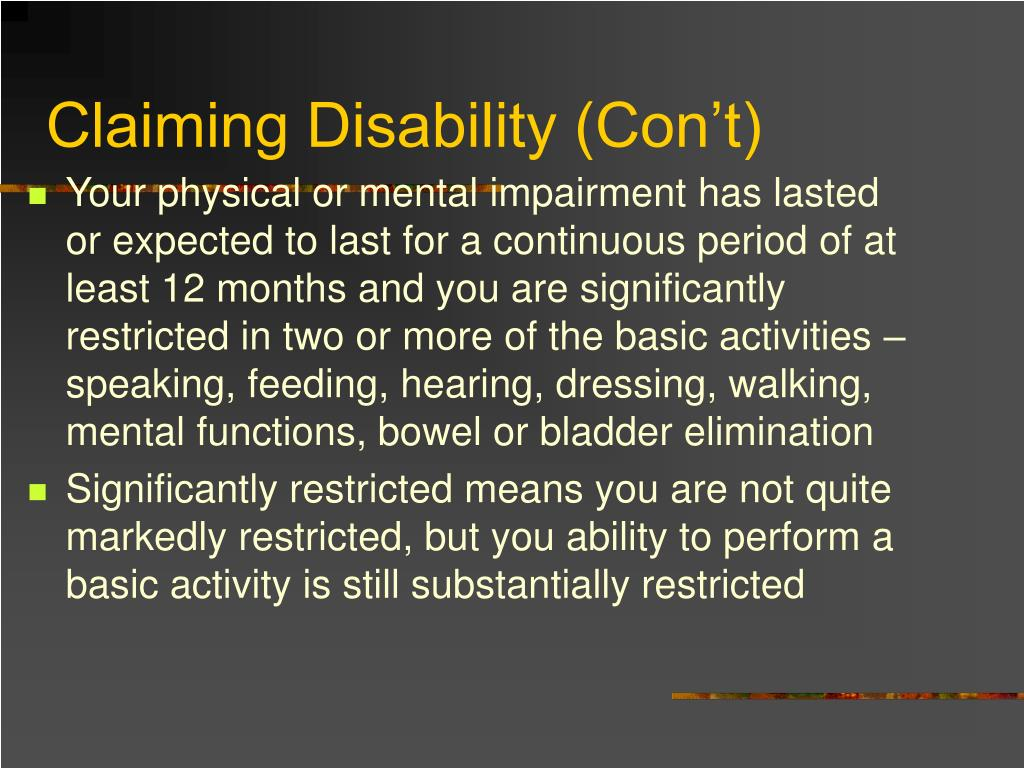 Claiming Disability (Con't)