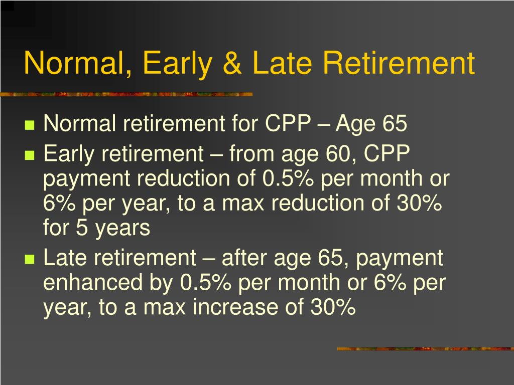 Normal, Early & Late Retirement