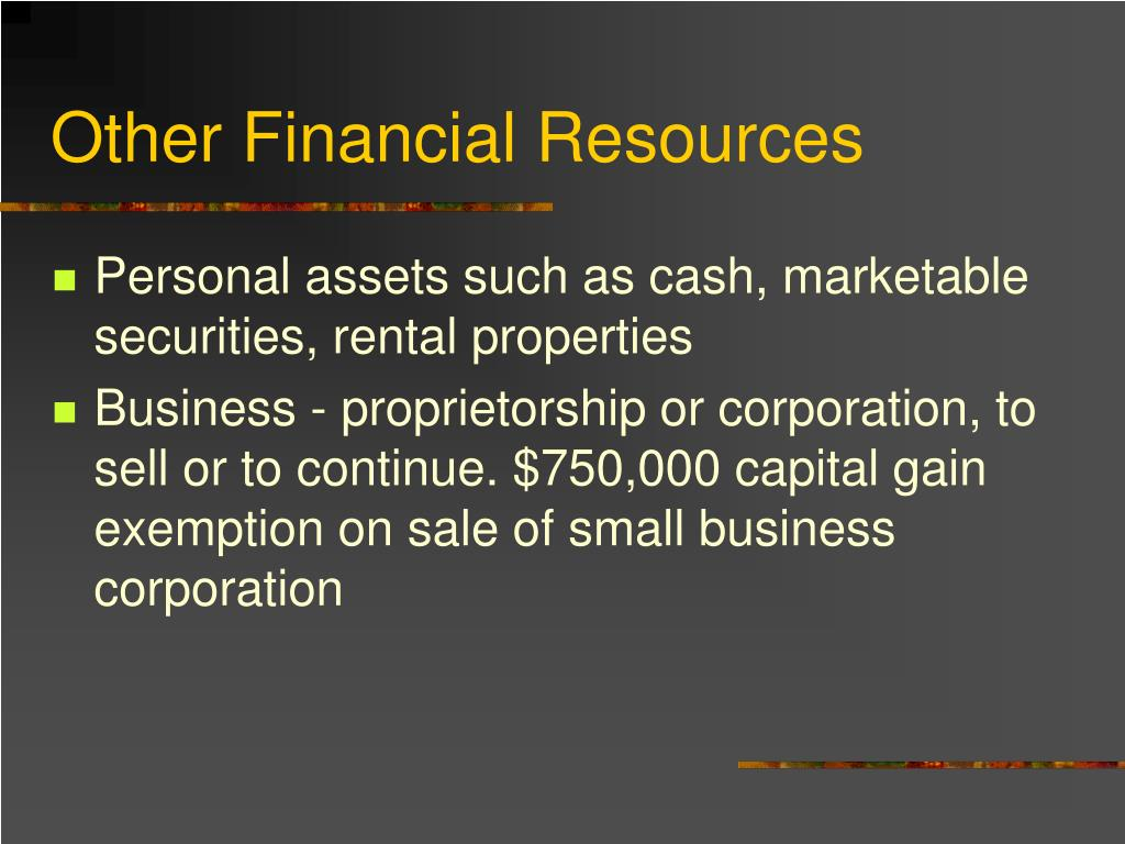 Other Financial Resources