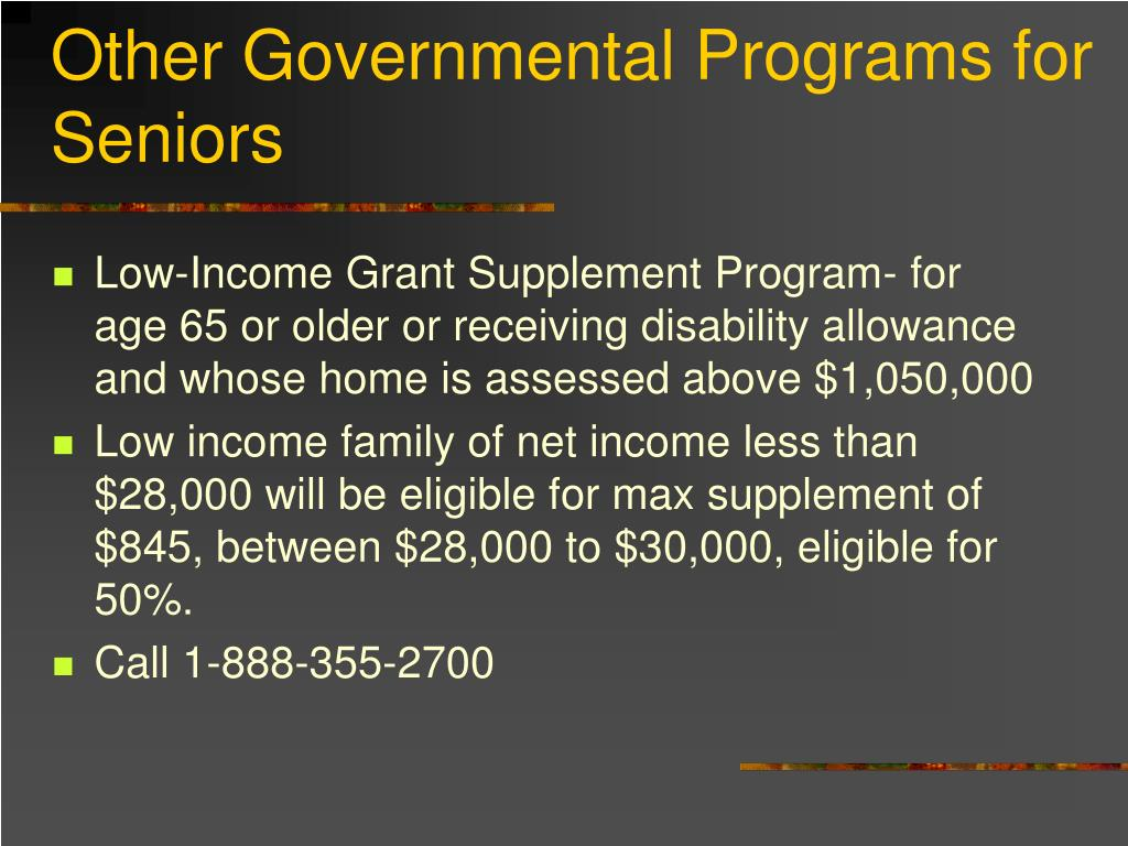 Other Governmental Programs for Seniors