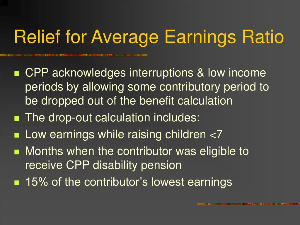 Relief for Average Earnings Ratio
