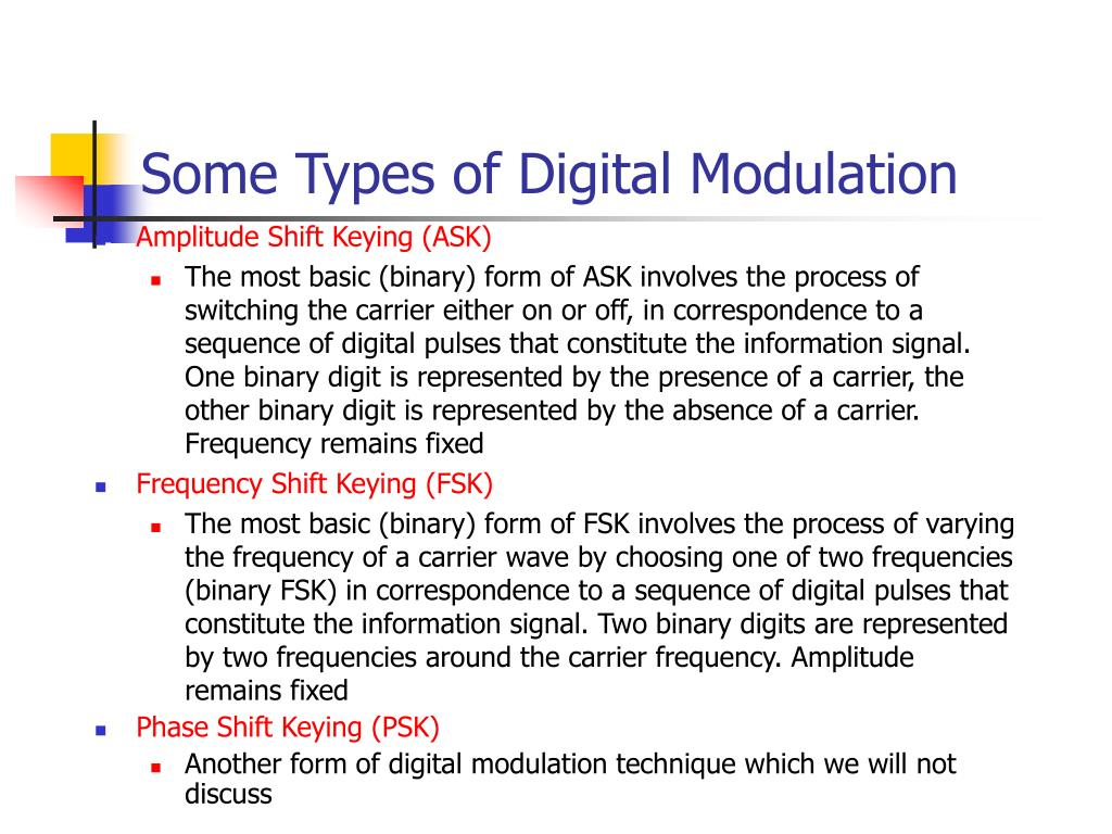Some Types of Digital Modulation