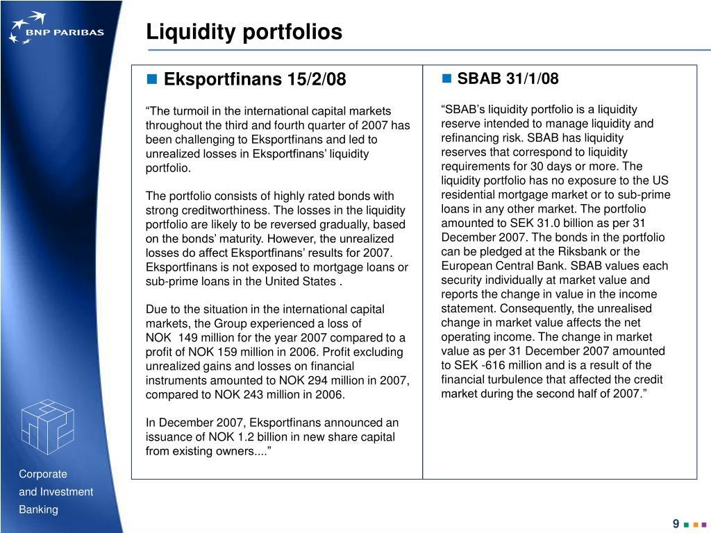 Liquidity portfolios