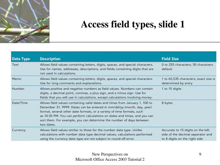 Access field types, slide 1