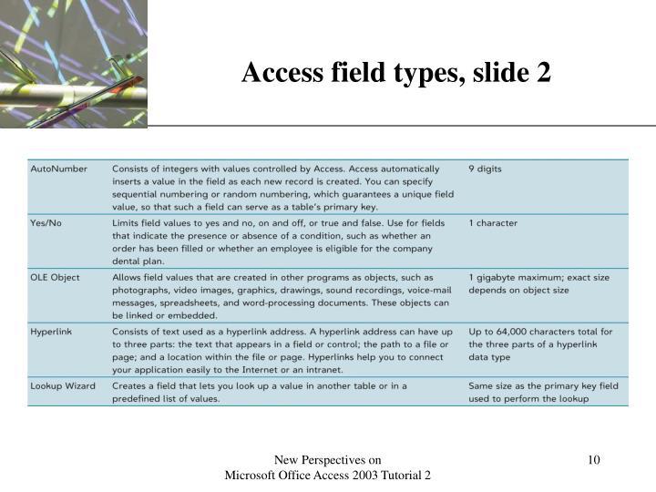 Access field types, slide 2