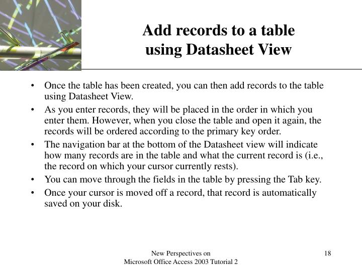 Add records to a table