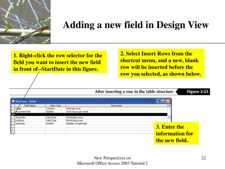 Adding a new field in Design View