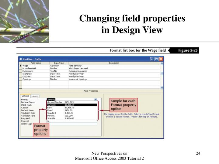 Changing field properties