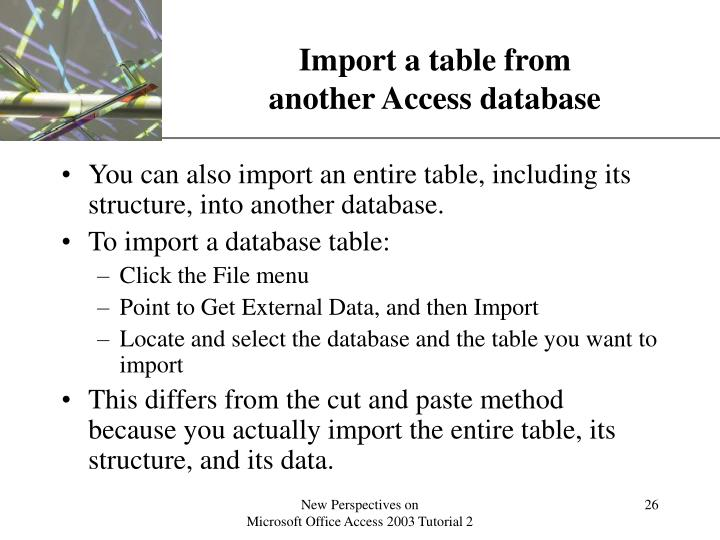 Import a table from