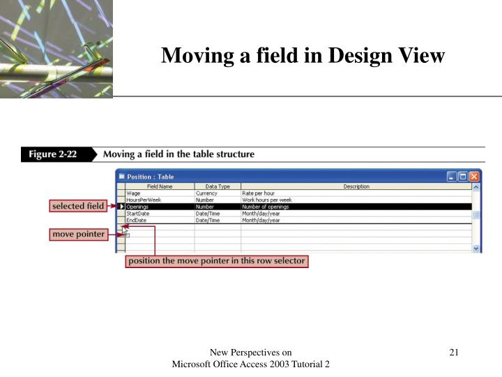 Moving a field in Design View