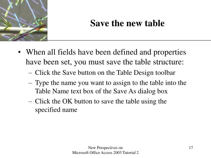 Save the new table