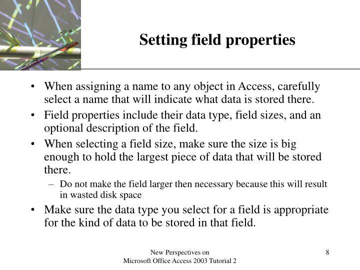 Setting field properties
