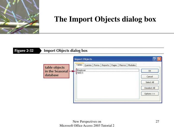 The Import Objects dialog box