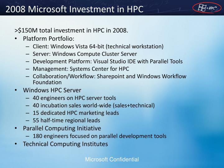 2008 microsoft investment in hpc