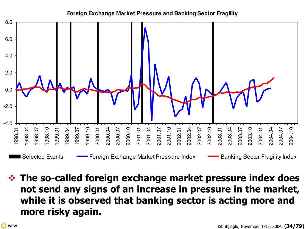 The so-called foreign exchange market pressure index does not send any signs of an increase in pressure in the market, while it is observed that banking sector is acting more and more risky again.